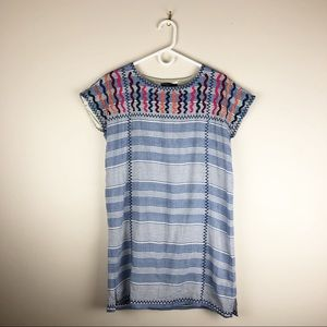 THML Embroidered Chambray Striped Sheath Dress